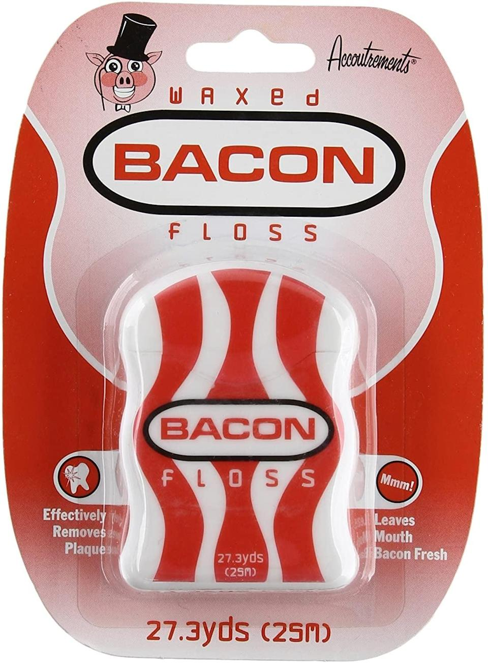 <p>This <span>Archie McPhee Accoutrements Waxed Bacon Floss</span> ($9) is the definition of a gag gift.</p>