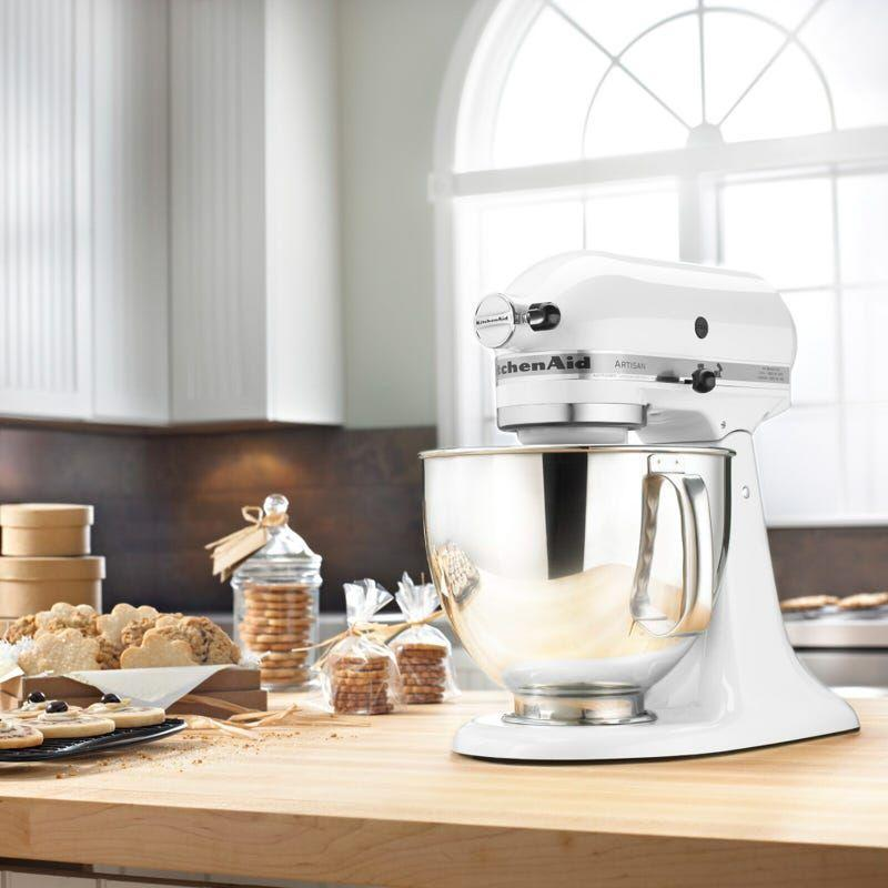 """<p><strong>KitchenAid</strong></p><p>theknot.com</p><p><strong>$399.99</strong></p><p><a href=""""https://go.redirectingat.com?id=74968X1596630&url=https%3A%2F%2Fwww.theknot.com%2Fregistry%2Fstore%2Fproducts%2Fartisan-series-5-qt-stand-mixer%3Fid%3D144545&sref=https%3A%2F%2Fwww.housebeautiful.com%2Fshopping%2Fhome-accessories%2Fg36318062%2Fwedding-gifts-couples-want-2021%2F"""" rel=""""nofollow noopener"""" target=""""_blank"""" data-ylk=""""slk:BUY NOW"""" class=""""link rapid-noclick-resp"""">BUY NOW</a></p><p>It's no surprise couples who have gotten into baking bread or sweet treats, especially during the peak of the pandemic, want this KitchenAid stand mixer in their home. It has 10 speeds and comes with a stainless steel bowl, whisk, beater, and dough hook.</p>"""