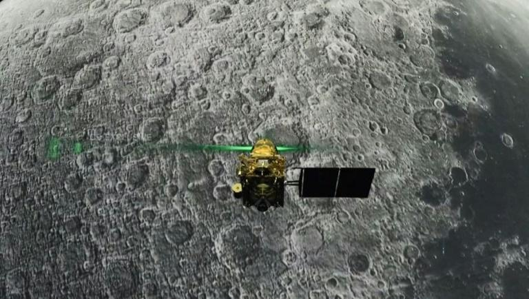 This screen grab taken from a live webcast by the Indian Space Research Organisation (ISRO) shows the Vikram lander before it was supposed to land on the Moon - communication was subsequently lost