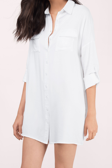 "<p>Shirt dresses are comfortable, versatile and hit your curves in all the right places. The Aline Shirt Dress has a relaxed fit and button-up front. It's your boyfriends classic button down transformed into a cute little shirt dress. Best suited for those casual days on the town. </p><p><i>Aline Shirt Dress, $40, <a href=""http://www.tobi.com/dresses/t-shirt-dresses/62930-tobi-aline-shirt-dress?color_id=90656"" rel=""nofollow noopener"" target=""_blank"" data-ylk=""slk:tobi.com"" class=""link rapid-noclick-resp"">tobi.com</a></i></p>"