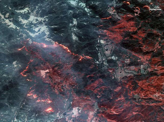 The fire line of the Santa Rosa wildfire can be seen in this infrared satellite image.
