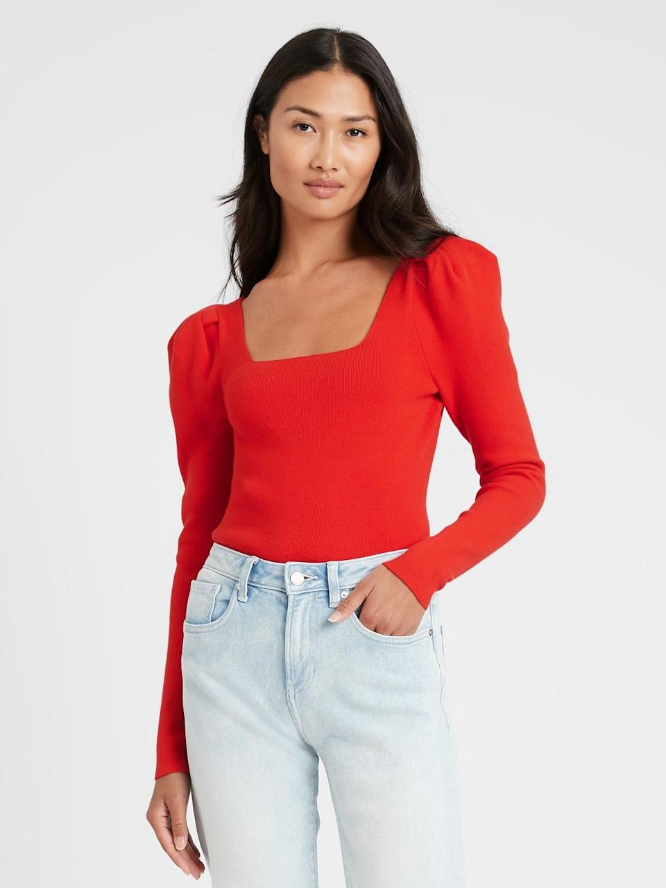 <p>You can also get this <span>Square-Neck Puff-Sleeve Sweater Top</span> ($78, originally $98) in black.</p>