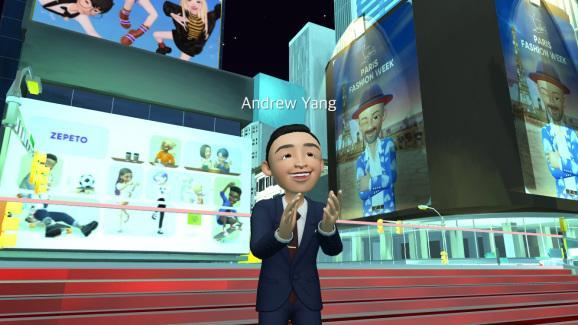 Andrew Yang in the Times Square area of Zepeto's metaverse.