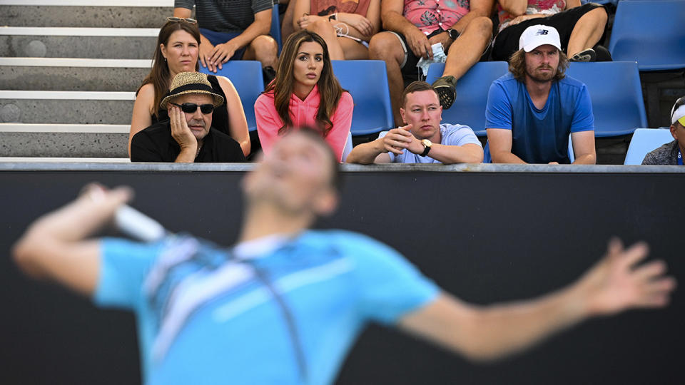 Vanessa Sierra, pictured here watching Bernard Tomic at the Australian Open in February.