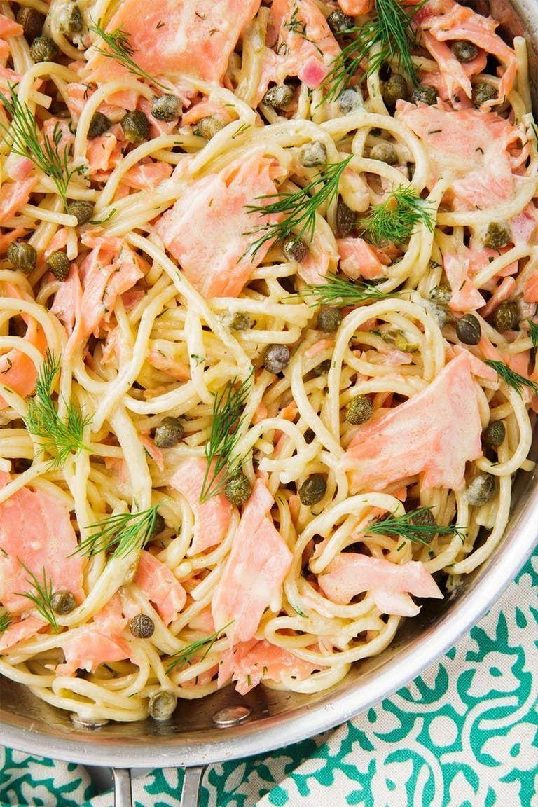 """<p>Smoked salmon pasta sounds really fancy, but the truth is, it's the easiest and fastest pasta we've ever made. It comes together in just under 30 minutes making it the perfect dish to whip up on a weeknight, but still good enough to impress your guests.</p><p>Get the <a href=""""https://www.delish.com/uk/cooking/recipes/a29844059/smoked-salmon-pasta-recipe/"""" rel=""""nofollow noopener"""" target=""""_blank"""" data-ylk=""""slk:Smoked Salmon Pasta"""" class=""""link rapid-noclick-resp"""">Smoked Salmon Pasta</a> recipe</p>"""