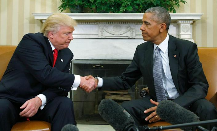 <p>President Obama greets President-elect Donald Trump in the White House Oval Office on Nov. 10, 2016. (Kevin Lamarque/Reuters) </p>