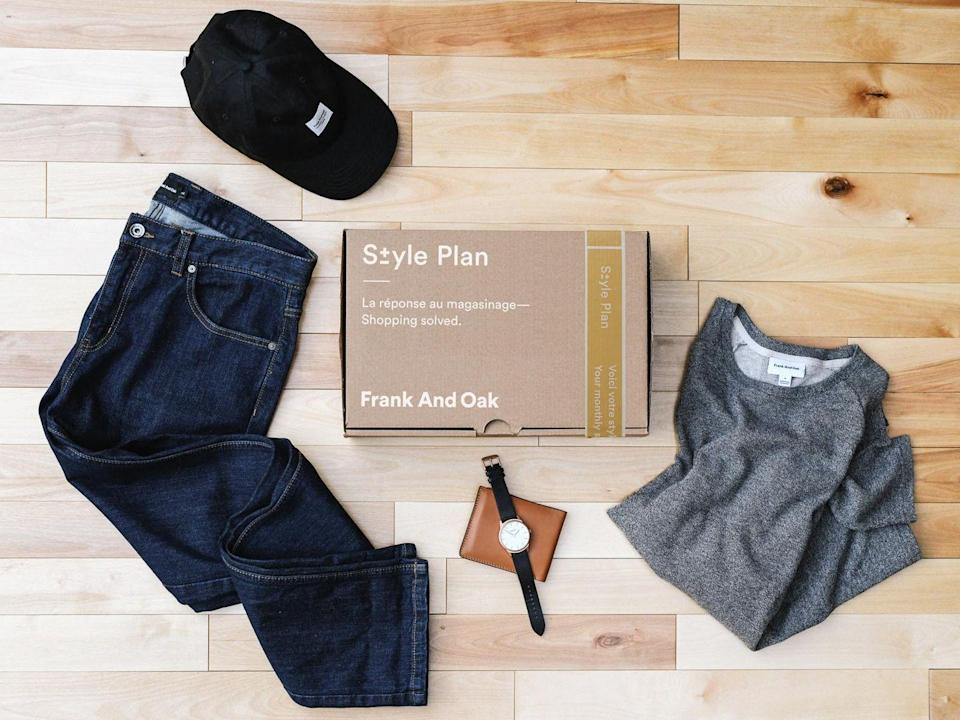 """<p><strong><em>Cost:</em></strong> $25 styling fee that's credited toward your purchase<br><strong><em>Who it's for: </em></strong>Men and women<em><br><strong>What you get:</strong></em> 3-5 items ranging from $29 to $149 per item try on at home<br></p><p><strong>Frank And Oak is a men's and women's clothing brand with a focus on sustainability. </strong>The brand's efforts include sourcing recycled or organic materials, using production processes with less water and toxic chemicals, and making garments with easier laundering methods. It's also certified as a B Corportation, which evaluates a company's social and environmental performance.</p><p>Subscribers get three to five items each month. You have two days to review the items in your box before it ships, with the option to replace items or cancel the shipment altogether. There's a wide variety of clothing and accessories, though most of the pieces are basics that you can wear for a long time, which is expected for a <a href=""""https://www.goodhousekeeping.com/clothing/g27154605/sustainable-fashion-clothing/"""" rel=""""nofollow noopener"""" target=""""_blank"""" data-ylk=""""slk:sustainable fashion brand."""" class=""""link rapid-noclick-resp"""">sustainable fashion brand.</a></p><p><a class=""""link rapid-noclick-resp"""" href=""""https://go.redirectingat.com?id=74968X1596630&url=https%3A%2F%2Fwww.frankandoak.com%2F&sref=https%3A%2F%2Fwww.goodhousekeeping.com%2Fclothing%2Fg31156814%2Fbest-clothing-subscription-boxes%2F"""" rel=""""nofollow noopener"""" target=""""_blank"""" data-ylk=""""slk:SHOP NOW"""">SHOP NOW</a></p>"""