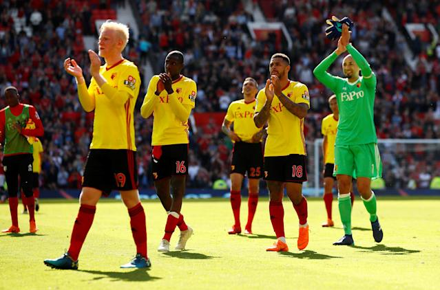 "Soccer Football - Premier League - Manchester United vs Watford - Old Trafford, Manchester, Britain - May 13, 2018 Watford's Will Hughes, Heurelho Gomes, Andre Gray and team mates applaud their fans after the match Action Images via Reuters/Jason Cairnduff EDITORIAL USE ONLY. No use with unauthorized audio, video, data, fixture lists, club/league logos or ""live"" services. Online in-match use limited to 75 images, no video emulation. No use in betting, games or single club/league/player publications. Please contact your account representative for further details."
