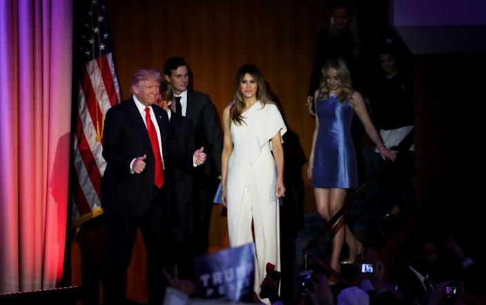 Republican president-elect Donald Trump walks onstage with son-in-law Jared Kushner, wife Melania, daughter Tiffany, and other family members at the Hilton Midtown in New York City early on Nov. 9, 2016. (Photo: Getty Images)