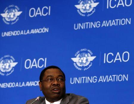 ICAO Council President Olumuyiwa Benard Aliu speaks during a press conference in Montreal
