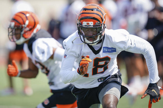 Cincinnati Bengal wide receiver A.J. Green (18) runs a play during the first day of NFL football training camp Saturday, July 27, 2019, in Dayton, Ohio. (AP Photo/Bryan Woolston)