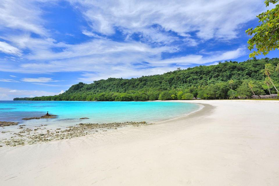 <p>If you're looking to go off the grid, head to this remote white sand beach on Espiritu Santo Island in the South Pacific.</p>