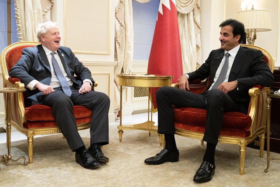 Prime Minister Boris Johnson meets with the Amir of Qatar, Sheikh Tamim bin Hamad Al Thani during the United Nations General Assembly in New York (Stefan Rousseau/PA) (PA Wire)
