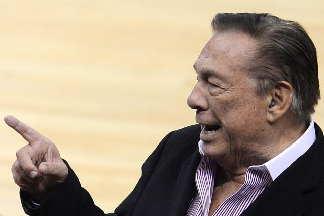 Los Angeles Clippers owner Donald Sterling attend an NBA game April 21, 2014, at Staples Center in Los Angeles, California (AFP Photo/Robyn Beck)