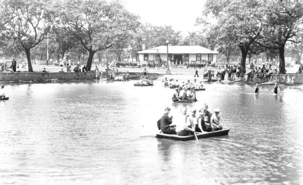 People go punting in the Egg Pond on the Halifax Common sometime between 1939 and 1945. The Egg Pond was the drainage area for a brook that flowed across the Common. It is now the skate park.