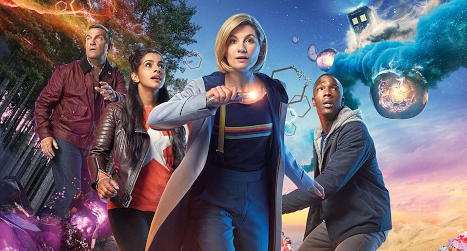 L-R: Graham (Bradley Walsh), Yaz (Mandip Gill), The Doctor (Jodie Whittaker), Ryan (Tosin Cole) (BBC / Sophie Mutevelian)