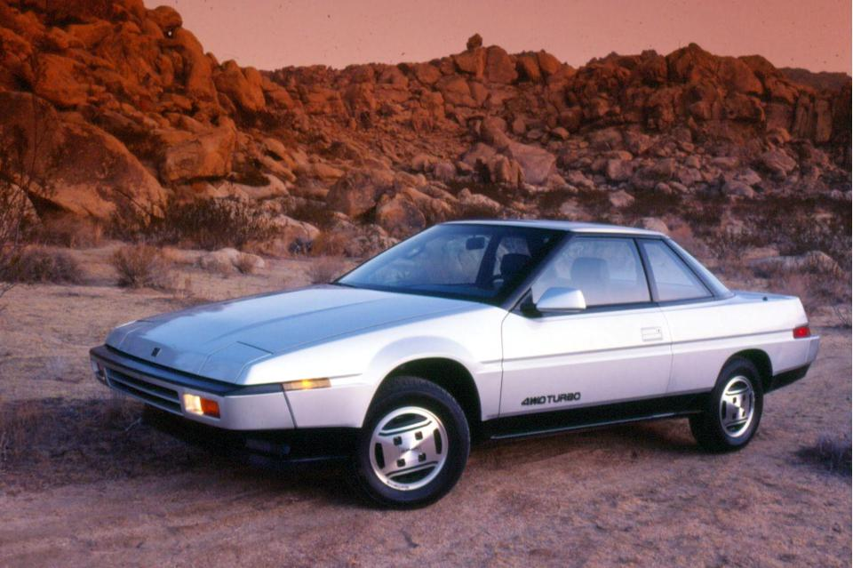 <p>One look at the Subaru XT should be all that's necessary to prove it deserves a spot on this list. The futuristic wedge design and chamfered surfaces makes the XT unlike any car that came before or after it, and yet perfectly '80s. The thin taillights, flush door handles, and wraparound rear glass further amp up the <em>Blade Runner</em> look. Subaru ensured the interior was equally wild by way of a two-spoke steering wheel and a gauge cluster pod that moved with it; a digital dash was of course optional. The uplevel engine was a turbocharged flat four that could be mated to an all-wheel-drive system and a manual transmission (standard models used a flat-six), and the XT even could be had with fancy features like adjustable air suspension. <em>—Daniel Golson</em></p>