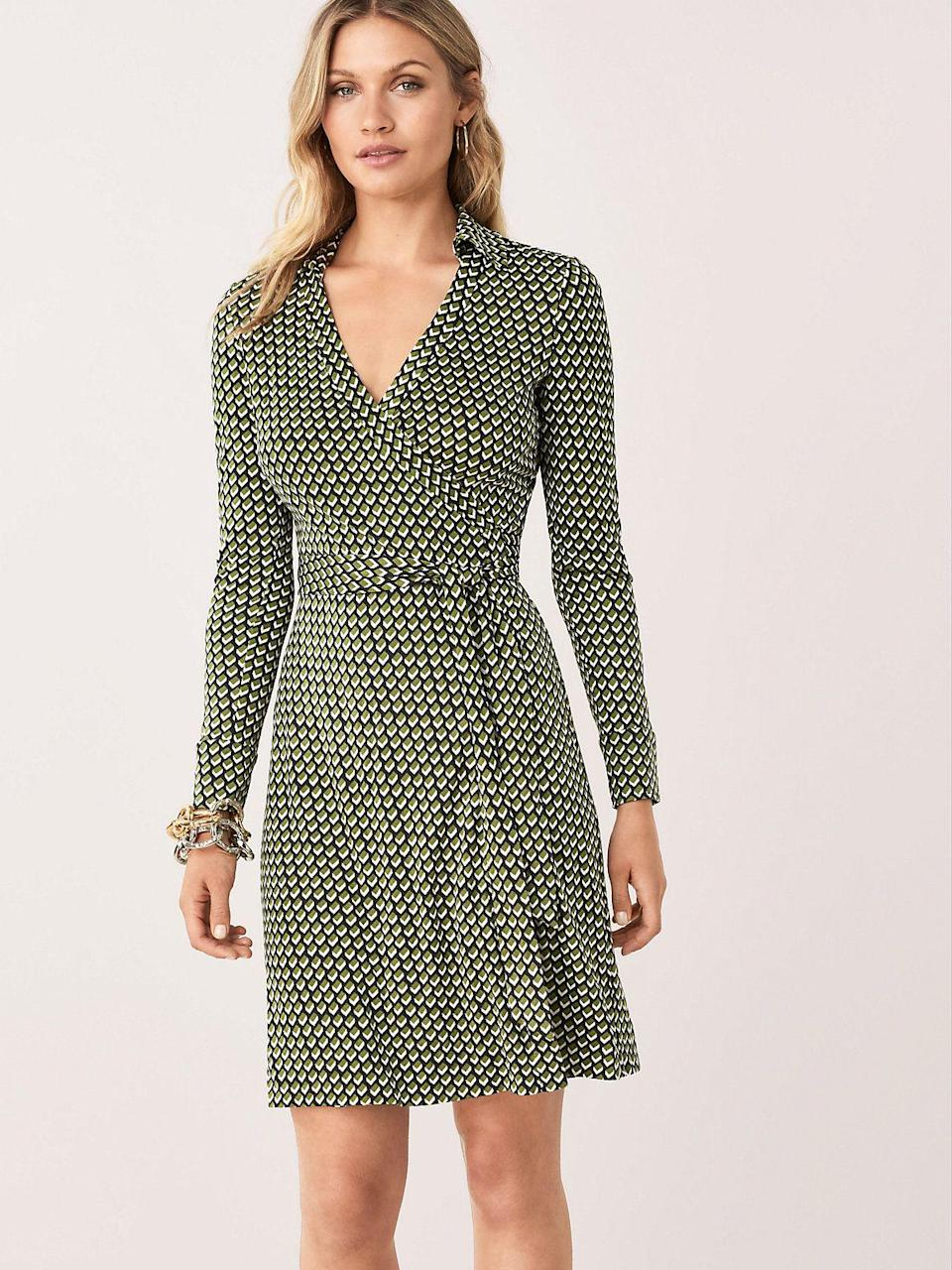 """<p><strong>Diane von Furstenberg</strong></p><p>dvf.com</p><p><strong>$199.20</strong></p><p><a href=""""https://go.redirectingat.com?id=74968X1596630&url=https%3A%2F%2Fwww.dvf.com%2Fnew-jeanne-two-silk-jersey-wrap-dress%2F10334DVF.html&sref=http%3A%2F%2Fwww.townandcountrymag.com%2Fstyle%2Ffashion-trends%2Fg26522706%2Fbest-dresses-for-older-women%2F"""" rel=""""nofollow noopener"""" target=""""_blank"""" data-ylk=""""slk:Shop Now"""" class=""""link rapid-noclick-resp"""">Shop Now</a></p><p>There's a reason that DVF's printed wrap dresses became an icon: they're flattering on positively everyone. </p>"""