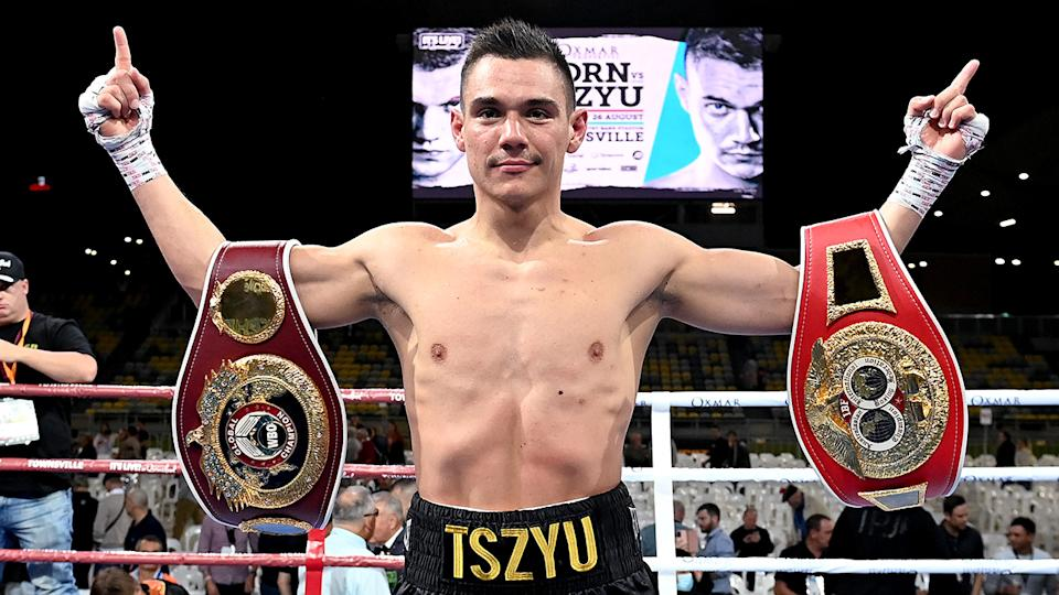 Tim Tszyu is pictured celebrating after his victory over Jeff Horn.