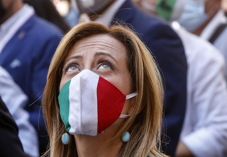 ROME, ITALY - JUNE 02: Fratelli d'Italia leader Giorgia Meloni is seen during an anti-government demonstration in Rome, Italy, on June 02, 2020. Center-right Forza Italia, Fratelli d'Italia and Lega Salvini Premier parties celebrated the Republic Day with a series of initiatives in several Italian cities against the government's policy as the country eased lockdown restrictions aimed to face the spread of the COVID-19 pandemic. (Photo by Riccardo De Luca/Anadolu Agency via Getty Images)