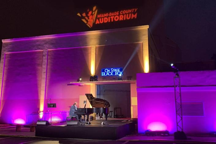 Miami-Dade County Auditorium is offering drive-through performances, such as this one featuring pianist José Negroni.