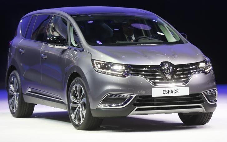 A new Renault Espace is displayed on media day at the Paris Mondial de l'Automobile