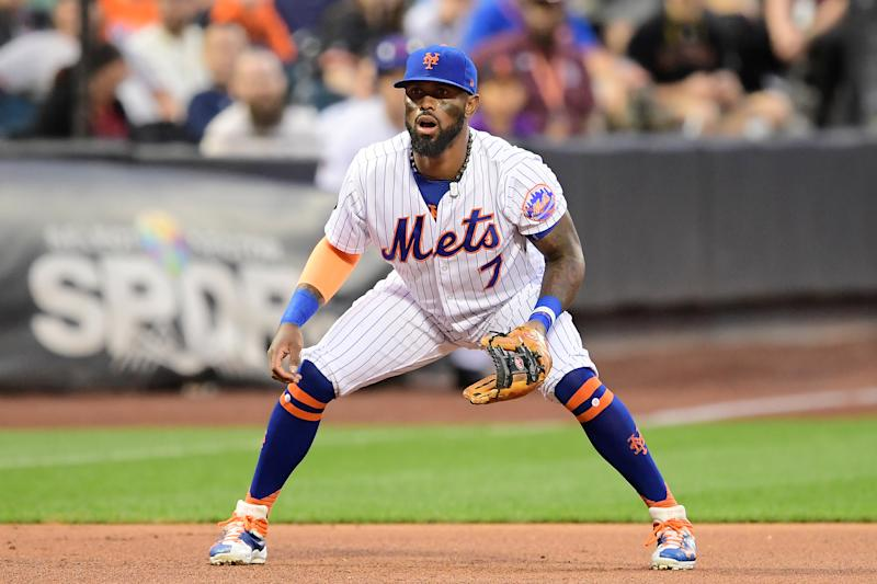 NEW YORK, NY - AUGUST 21: Jose Reyes #7 of the New York Mets fields his position against the San Francisco Giants at Citi Field on August 21, 2018 in the Flushing neighborhood of the Queens borough of New York City. (Photo by Steven Ryan/Getty Images)