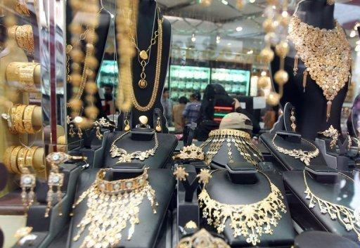 Necklaces are displayed at a store in a gold market in Dubai. Many Emirati women are concerned that they will become spinsters, a rising phenomenon in the conservative society that some attribute to high dowries, expensive wedding ceremonies and local men seeking to marry foreign women