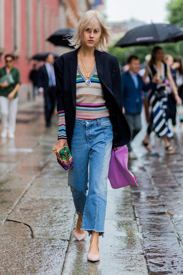 <p>Choose a knit that pops to pair with your favorite slouchy denims. Just add a tailored blazer to instantly elevate your look.</p>