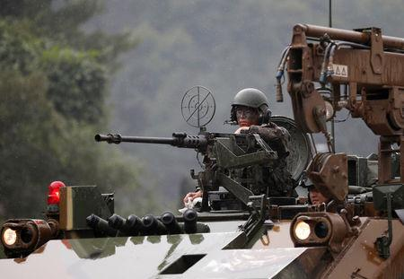 South Korean soldier takes part in a combined arms collective training exercise in Pocheon