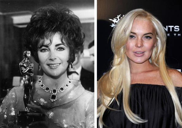 """(FILE PHOTO) In this composite image a comparison has been made between Elizabeth Taylor (L) and actress Lindsay Lohan. Actress Lindsay Lohan will reportedly play Elizabeth Taylor in an upcoming TV movie biopic currently titled 'Liz and Dick' to be aired on Lifetime, an American television cable network. ***LEFT IMAGE*** 1967: Elizabeth Taylor holds an Oscar she won for the film 'Who's afraid of Virginia Woolf' at the Grosvenor Hotel in April 26, 1967 in London. (Photo by Keystone/Getty Images) ***RIGHT IMAGE*** LOS ANGELES, CA - OCTOBER 12: Actress Lindsay Lohan attends the Premiere Of THQ's """"Saints Row: The Third"""" on October 12, 2011 in Los Angeles, California. (Photo by Valerie Macon/Getty Images)"""