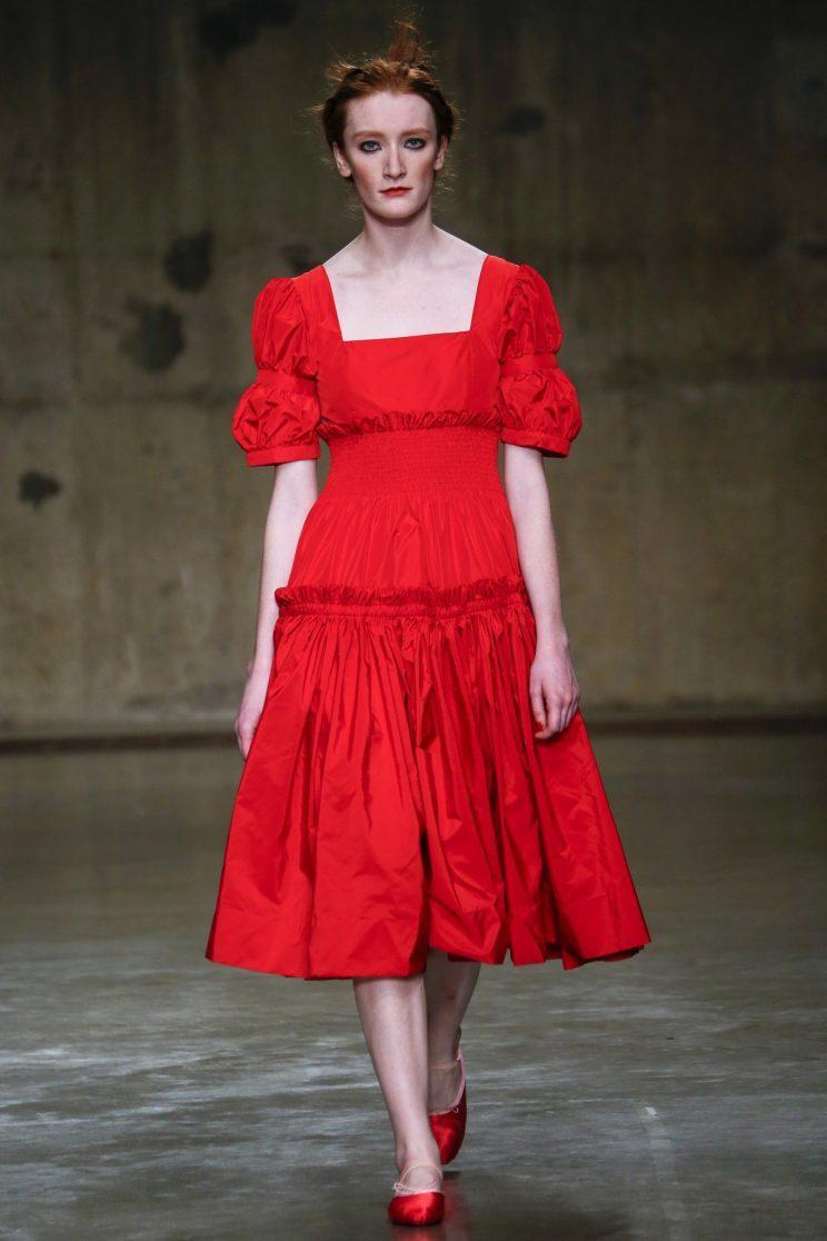 A model in the Molly Goddard fall/winter 2017 show in London. (Photo: Getty Images)