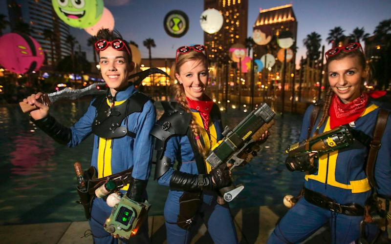 Fans dressed as characters from the Fallout game series - AFP