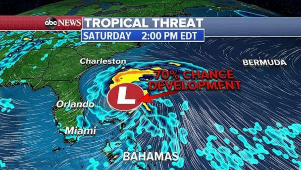 PHOTO: A tropical threat could become the first named storm system of the 2020 Hurricane season, which would be named Arthur. If it forms, it will develop Friday night into Saturday morning north of Bahamas. (ABC News)