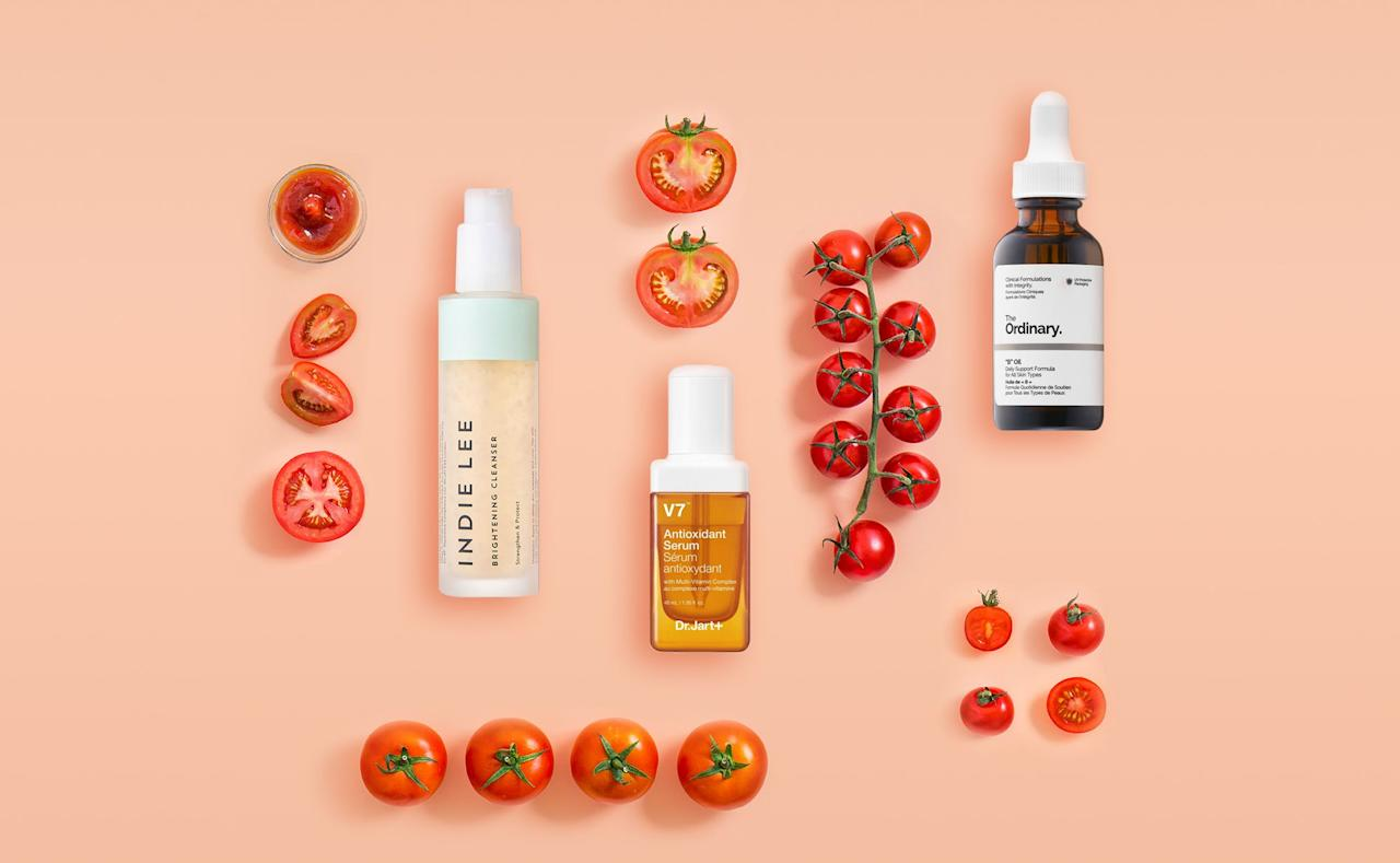 "<p>Whether you're snacking on <a href=""https://www.goodhousekeeping.com/home/gardening/a20706658/growing-cherry-tomatoes/"" target=""_blank"">cherry tomatoes</a>, <a href=""https://www.goodhousekeeping.com/home/gardening/a20707127/best-heirloom-tomatoes/"" target=""_blank"">heirloom tomatoes</a>, or beefsteak tomatoes, tomato season is one of the best times of the year. It turns out that beyond being delicious, eating a tomato-heavy diet has <a href=""https://www.goodhousekeeping.com/beauty/anti-aging/g28135730/best-skincare-products/"" target=""_blank"">skincare</a> benefits, too. <a href=""https://www.goodhousekeeping.com/health/diet-nutrition/a33339185/tomato-health-benefits/"" target=""_blank"">Tomatoes are full of vitamins and antioxidants</a>, and are ""low-calorie, but nutrient-dense which means they are packed with tons of vitamins, minerals, and phytonutrients,"" says <a href=""https://www.goodhousekeeping.com/author/224673/stefani-sassos/"" target=""_blank"">Stefani Sassos</a>, MS, RDN, Registered Dietitian for the <a href=""https://www.goodhousekeeping.com/institute/about-the-institute/"" target=""_blank"">Good Housekeeping Institute</a>. ""The vibrant red hue of tomatoes comes from a powerful antioxidant known as lycopene. They are also loaded with vitamin C, fiber, potassium, and even folate."" <br></p><h2 class=""body-h2"">What are the skincare benefits of tomatoes?</h2><p>That's right: Tomatoes have skincare benefits. But before you start applying tomato juice to your skin or rubbing tomato slices on your your face, take caution. Dr. Melissa Kanchanapoomi Levin, board-certified dermatologist, founder of <a href=""https://urldefense.com/v3/__http://www.entierederm.com__;!!Ivohdkk!yf6tGrERH8ySBuS5IawBBNYfFJECnO3HFb9JZfYnqvm_zrPfssIkMxAMbE9gKKZCo2I$"" title=""https://urldefense.com/v3/__http://www.entierederm.com__;!!Ivohdkk!yf6tGrERH8ySBuS5IawBBNYfFJECnO3HFb9JZfYnqvm_zrPfssIkMxAMbE9gKKZCo2I$"">Entière Dermatology</a> and clinical instructor at NYU Langone, advises against any DIY methods. ""In general, any acidic fruit or vegetable can cause irritation on the skin,"" Dr. Levin says. </p><p>Don't worry — plenty of skincare products are out there that are specifically formulated to harness the carotenoid's properties. Here's what that means for your skin:</p><ul><li><strong><a href=""https://www.goodhousekeeping.com/beauty/anti-aging/g26840895/best-vitamin-c-serums/"" target=""_blank"">Vitamin C</a> stimulates collagen production. </strong>Vitamin C<strong> </strong>is widely used in skincare, and ""tomatoes contain quite a bit of vitamin C, [an] antioxidant that can help fight free radicals and naturally stimulate collagen synthesis,"" says Sassos.</li><li><strong>Lycopene protects agains free radicals and UV damage</strong>. ""For the skin, lycopene not only neutralizes free radicals but also is protective against oxidative stress and UV-radiation (the sun),"" notes Dr. Levin. ""As in the oral form, topical lycopene has been shown to have antioxidative properties as well,"" says Levin. She notes, however, that there is more research for oral lycopene — so when patients ask her about mixing in the powerful antioxidant, she typically steers them in the direction of ingested forms of lycopene.</li></ul><p> Below, we've rounded up the highest rated products made with tomatoes:</p>"