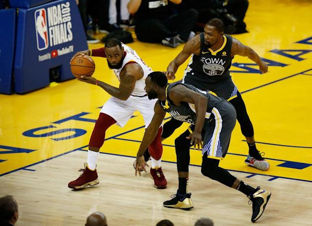 Draymond Green and Kevin Durant played integral roles in the defensive performance that helped the Warriors win Game 2. (Getty)