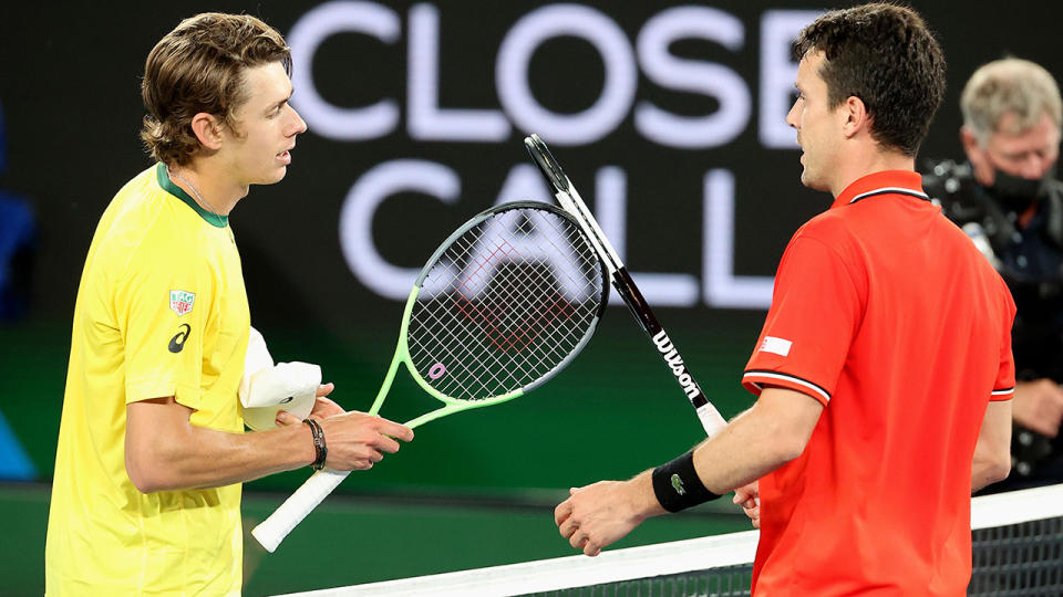 Alex de Minaur and Roberto Bautista Agut, pictured here after their ATP Cup clash.