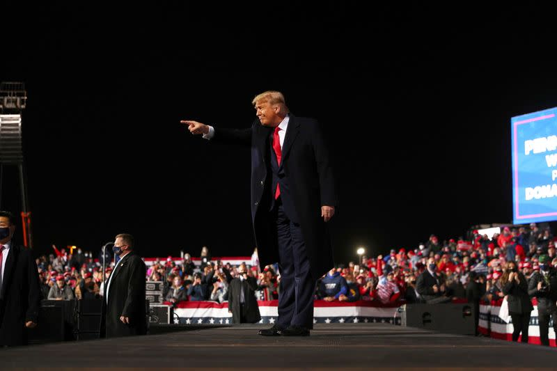 U.S. President Donald Trump holds a campaign rally at Erie International Airport