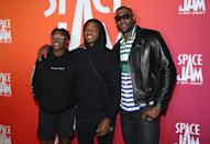<p>LeBron James and his sons Bryce and Bronny attend <em>Space Jam: A New Legacy</em> Party in the Park After Dark at Six Flags Magic Mountain on June 29 in Valencia, California.</p>