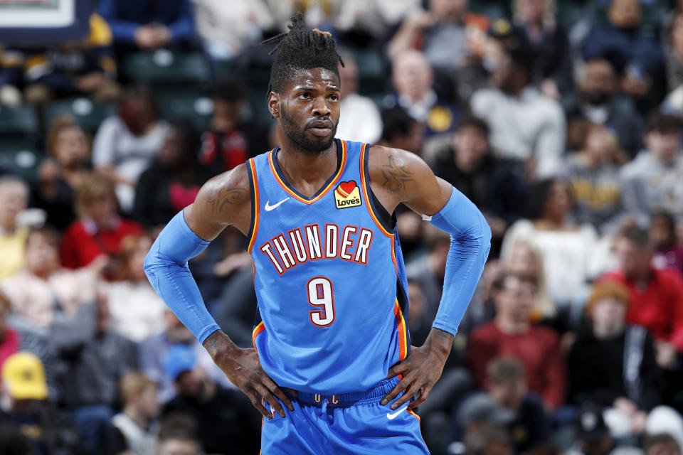 Nerlens Noel #9 of the Oklahoma City Thunder looks on against the Indiana Pacers