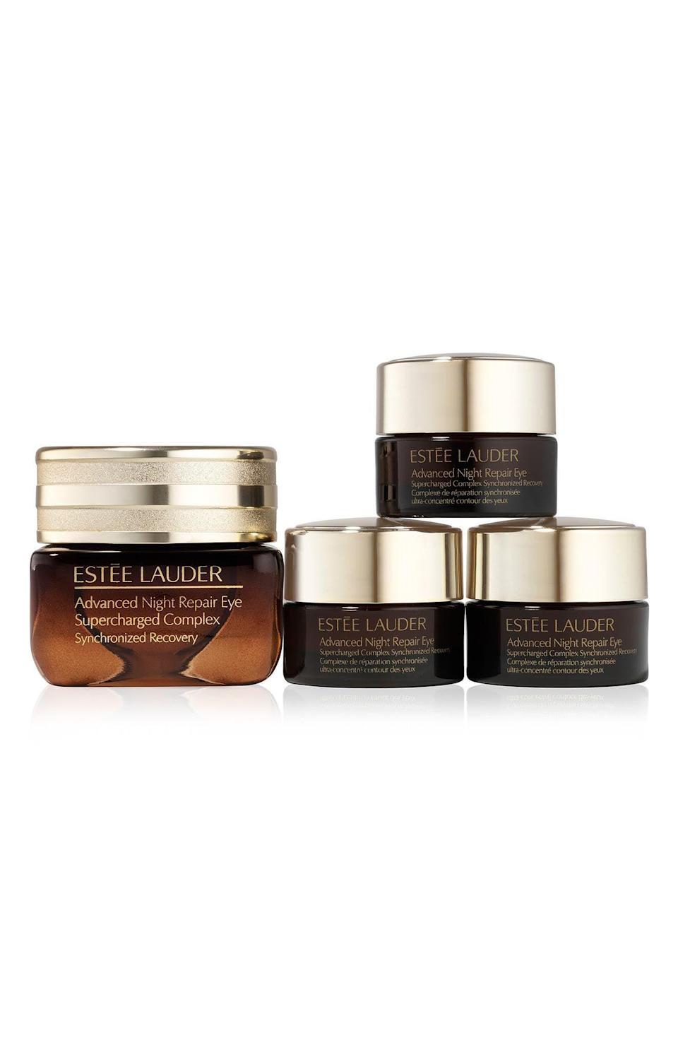 """<p><strong>Estée Lauder</strong></p><p>nordstrom.com</p><p><strong>$66.00</strong></p><p><a href=""""https://go.redirectingat.com?id=74968X1596630&url=https%3A%2F%2Fwww.nordstrom.com%2Fs%2Festee-lauder-advanced-night-repair-eye-cream-set-132-value%2F5914783&sref=https%3A%2F%2Fwww.elle.com%2Fbeauty%2Fg36944650%2Fnorstrom-anniversary-beauty-sale-2021%2F"""" rel=""""nofollow noopener"""" target=""""_blank"""" data-ylk=""""slk:Shop Now"""" class=""""link rapid-noclick-resp"""">Shop Now</a></p><p>Here's a scam I'm mad about: Why are eye creams packaged in such tiny bottles? Here's a solution I'm not mad at: Getting <em>three</em> eye creams for the same price that will last you three times as long.</p>"""