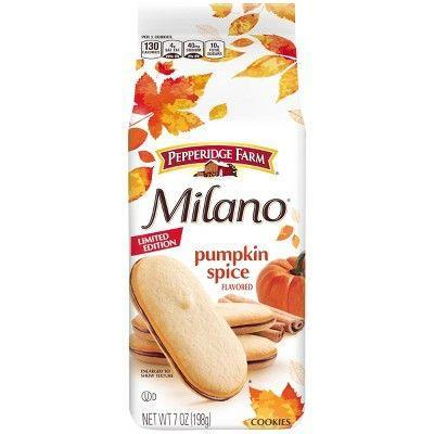 "<p><strong>Pepperidge Farm</strong></p><p>target.com</p><p><strong>$2.99</strong></p><p><a href=""https://www.target.com/p/pepperidge-farm-milano-seasonal-7oz/-/A-16945420"" rel=""nofollow noopener"" target=""_blank"" data-ylk=""slk:BUY NOW"" class=""link rapid-noclick-resp"">BUY NOW</a></p><p>These fan favorites are back in stories. They're all the goodness of the classic Milano cookie in a limited-edition pumpkin spice flavor. You can buy these now for about $3.89 and enjoy them all fall long.</p>"