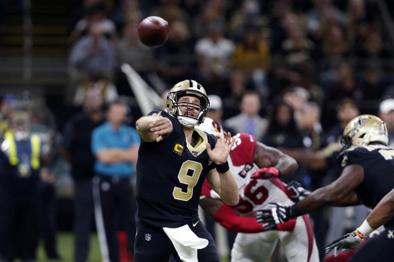 New Orleans Saints quarterback Drew Brees (9) passes in the first half of an NFL football game against the Arizona Cardinals in New Orleans, Sunday, Oct. 27, 2019. (AP Photo/Gerald Herbert)