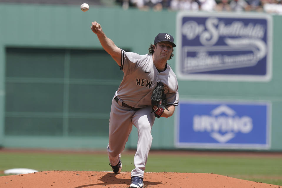 New York Yankees' Gerrit Cole delivers a pitch against the Boston Red Sox in the first inning of a baseball game, Sunday, June 27, 2021, in Boston. (AP Photo/Steven Senne)
