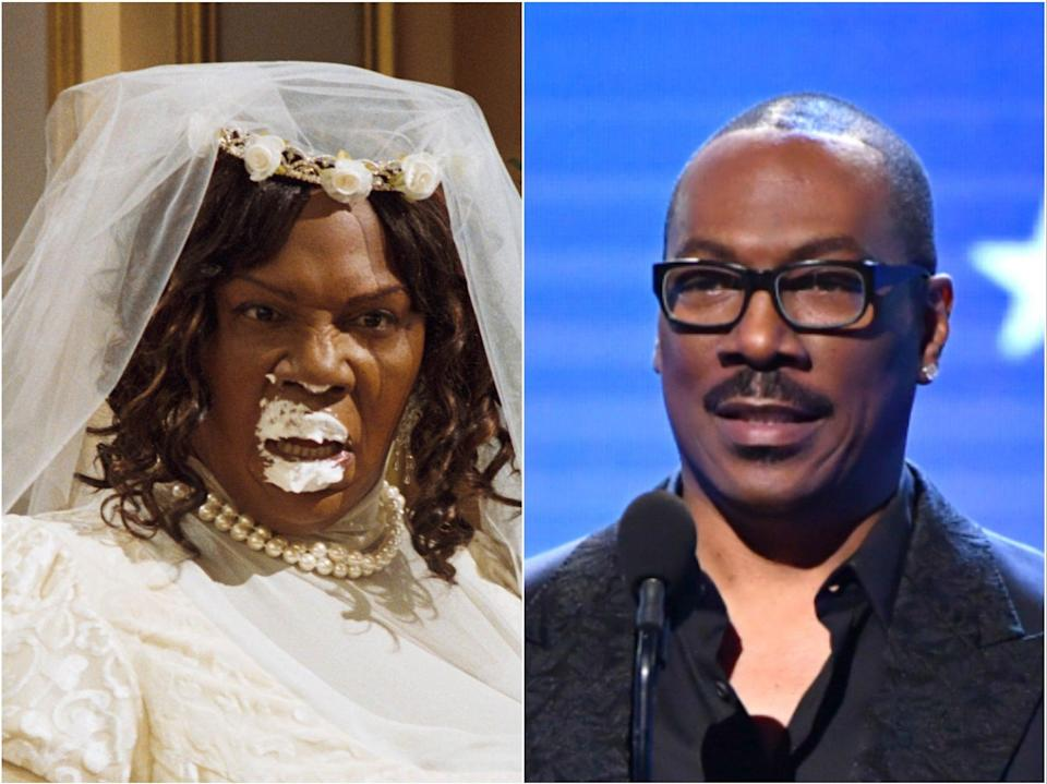 Eddie Murphy in 2007's Norbit (left) and pictured in 2020 (right) (Dreamworks/Getty)