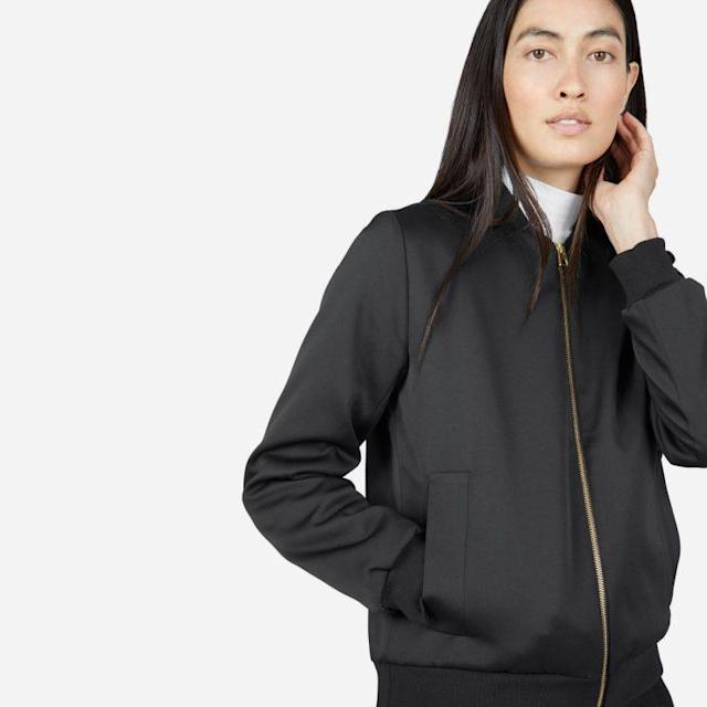 Model wearing the Everlane E2 Bomber Jacket, retails for $125. (Photo: Everlane)