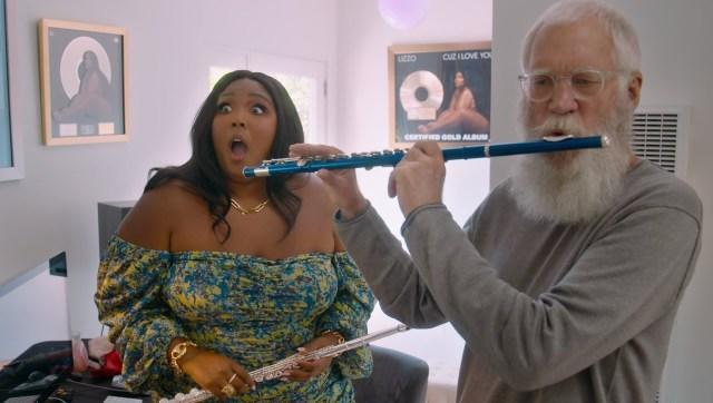 Letterman tries Lizzo's flute | Image from Netflix