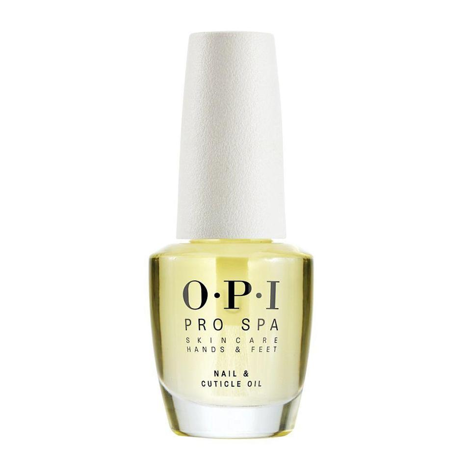 """<p><strong>OPI</strong></p><p>amazon.com</p><p><strong>$15.95</strong></p><p><a href=""""https://www.amazon.com/dp/B073Q3CPYH?tag=syn-yahoo-20&ascsubtag=%5Bartid%7C2089.g.2709%5Bsrc%7Cyahoo-us"""" rel=""""nofollow noopener"""" target=""""_blank"""" data-ylk=""""slk:Shop Now"""" class=""""link rapid-noclick-resp"""">Shop Now</a></p><p>This OPI nail and cuticle treatment is packed with conditioning oils, including grape seed, sesame, kukui, sunflower, and cupuaçu. You can expect relief from ailing cuticles within a week of daily use.</p>"""
