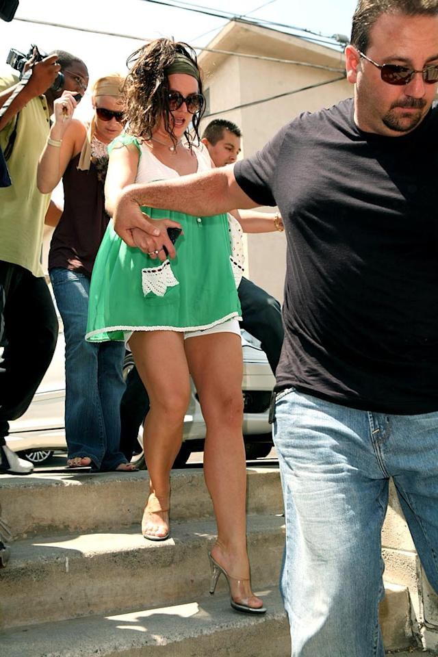 "Watch your step Britney! We don't want another wardrobe malfunction. <a href=""http://www.x17online.com"" target=""new"">X17 Online</a> - July 23, 2007"