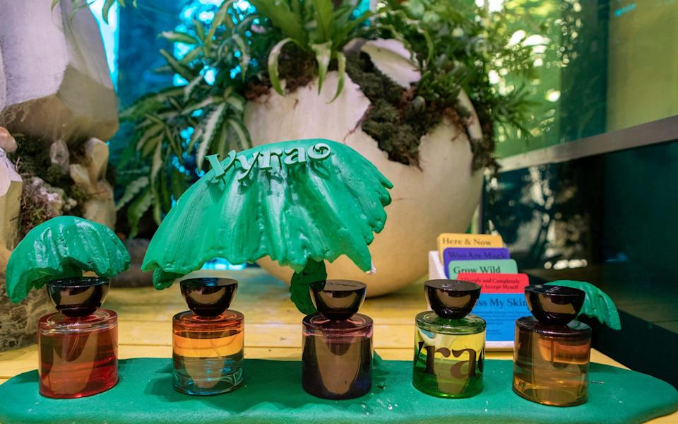 """The display of botanical perfumes by Vyrao, a perfumery that specialises in 'high vibrancy' fragrances that evoke """"positive emotion"""" - Rii Schroer"""